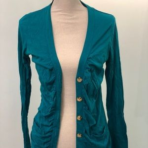 Teal Lilla P long cardigan with natural buttons!
